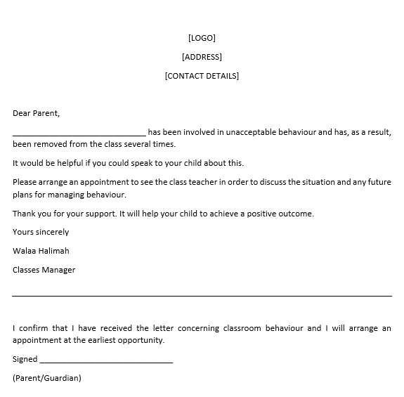 letter requesting parent  guardian meeting