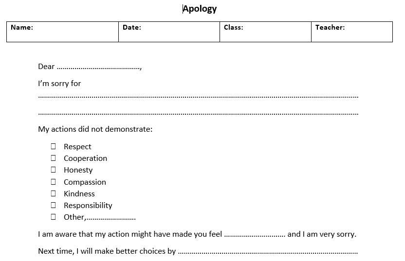 Apology Letter - Madrassah